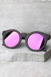 Woodzee Twiggy Pink Mirrored Ebony Wood Sunglasses