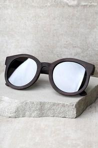 Woodzee Gigi Silver Mirrored Ebony Wood Sunglasses