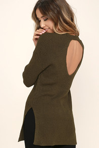 Chill Zone Olive Green Backless Sweater
