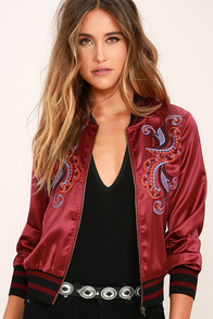 More is Amore Burgundy Embroidered Bomber Jacket