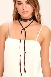 Wild and Wily Brown Wrap Necklace