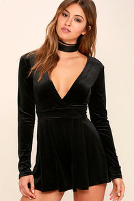 Decorated In Love Black Velvet Romper at Lulus.com!