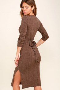 Wrapped Around Your Finger Heather Brown Bodycon Midi Dress