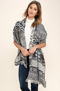 On the Mark Cream and Navy Blue Print Scarf