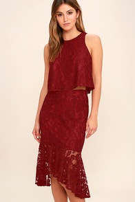 Le Grand Amour Dark Red Lace Two-Piece Dress