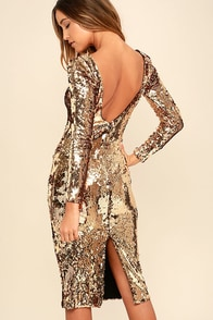 Dress the Population Emery Gold Sequin Midi Dress