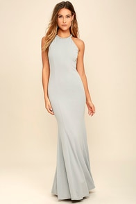 Girl in the Mirror Light Grey Beaded Maxi Dress