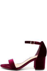 For Real Burgundy Velvet Ankle Strap Heels Image