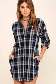 Leaves and Thank You Navy Blue Plaid Shirt Dress