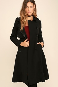 Line and Dot Nora Black Trench Coat