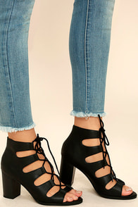 City Sights Black Lace-Up Heels