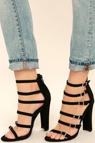 Laila Black Caged Heels Image