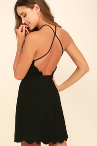 Your Everything Black Backless Skater Dress