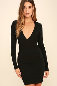 Fun and Fame Black Long Sleeve Bodycon Dress