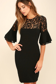 Wait and Chic Black Lace Dress
