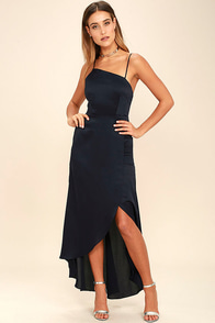 Open Arms Navy Blue High-Low Dress