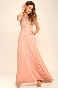 Lovely Blush Pink Dress Maxi Dress Bridesmaid Dress