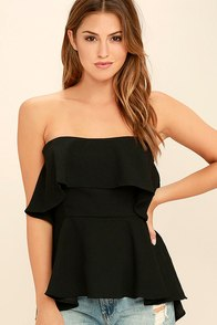 Deserve the Best Black Strapless Top