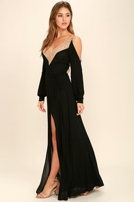 Wild Orchard Black Lace Maxi Dress