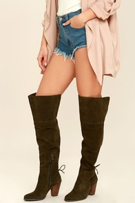 Jessica Simpson Cassina Olive Suede Leather Over the Knee Boots