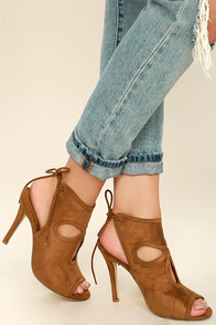 Bonnibel Shoes Alegra Tan Suede Peep-Toe Heels