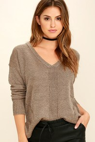 Staying In Light Brown Sweater Top