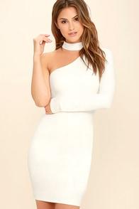 All I Half White One Shoulder Dress