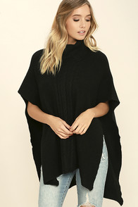 Morning Light Black Poncho Top