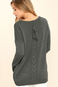 Cozy Time Charcoal Grey Lace-Up Sweater