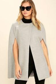 Shop 1960s Style Coats and Jackets BB Dakota Cambridge Heather Grey Cape $115.00 AT vintagedancer.com