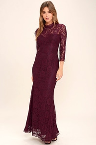 More Than Love Burgundy Lace Maxi Dress