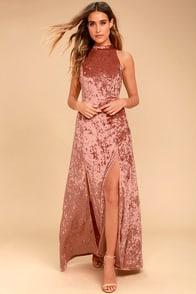 Sway My Options Rusty Rose Velvet Maxi Dress