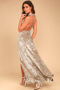 Sway My Options Taupe Velvet Maxi Dress