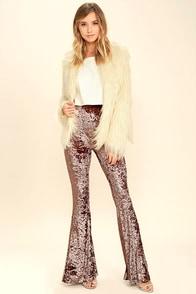 Cosmic Cutie Taupe Velvet Flare Pants