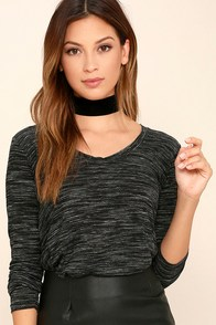 Classic Collection Black Print Long Sleeve Top