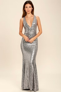 Your Luxe Day Pewter Sequin Maxi Dress at Lulus.com!