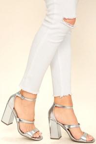 Christina Silver Ankle Strap Heels