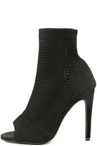 Cosmia Black High Heel Peep-Toe Booties