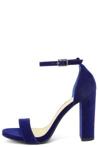 Viviana Navy Blue Velvet Ankle Strap Heels