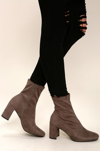 Maribel Taupe Suede Mid-Calf Boots