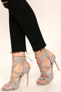 Audrianna Grey Suede Caged Heels Image