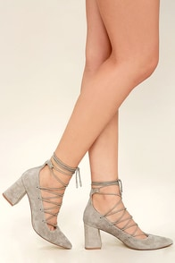 Chinese Laundry Odelle Taupe Suede Leather Lace-Up Heels