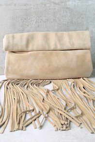 Palomino Beige Suede Leather Fringe Clutch