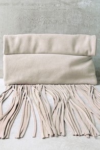 Palomino Light Grey Suede Leather Fringe Clutch
