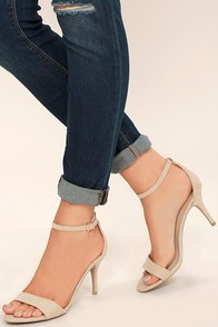 Lover Natural Suede Ankle Strap Heels