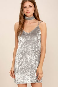 Greatest Love of All Light Grey Velvet Dress
