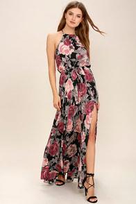 Evening Escape Black Floral Print Maxi Dress