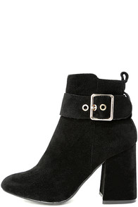 Livia Black Suede Ankle Booties