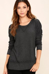Emerson Charcoal Grey Long Sleeve Top