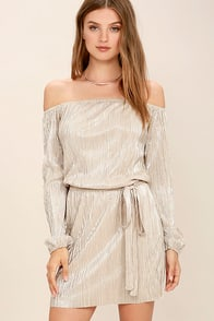 Glisten Closely Beige and Silver Off-the-Shoulder Dress